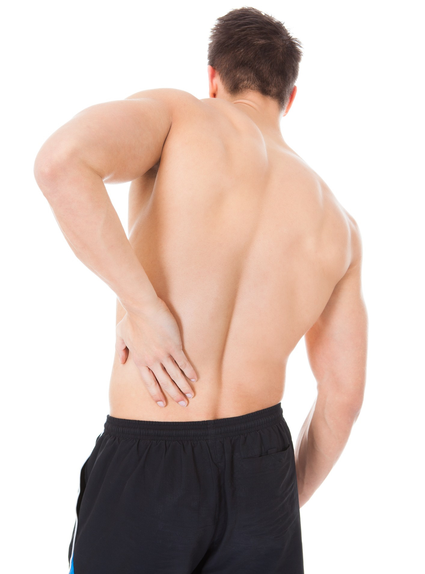 Man in black shorts holding his back Suffering From Back Pain Acupuncture therapy in Edmonton for musculoskeletal injuries.